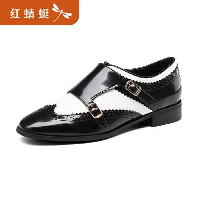 【领劵下单立减120】金粉世家 红蜻蜓旗下 秋季新款正品拼色布洛克套脚时尚女鞋