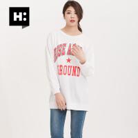 H:CONNECT2018新款女士韩版时尚圆领长袖字母印花T恤上衣