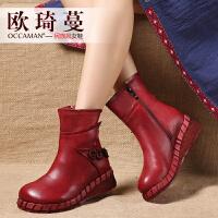 欧琦蔓2018秋冬新款原创复古特色真皮短靴女马丁靴中筒皮靴84057
