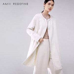 [AMII东方极简] JII[东方极简]冬季新款大码长款文艺圆领落肩袖羊毛呢外套女装