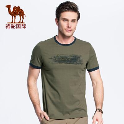 骆驼男装 2018夏季新款男青年夏装休闲舒适棉质印花圆领短袖T恤