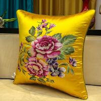 新中式抱枕靠垫套红木沙发刺绣花腰枕靠背大花含芯客厅抱枕靠枕套