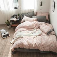 水洗棉四件套简约色织床笠被套床上用品床单1.8m米床双人