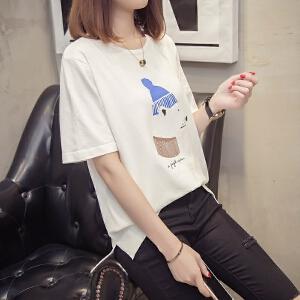2018短袖t恤女夏卡通冰丝针织衫宽松韩版学生薄款半袖打底衫上衣