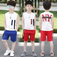 新款套装儿童中大童夏季童装男孩背心韩版两件套潮衣