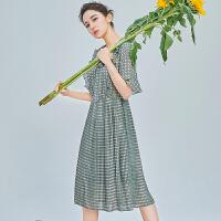 【限时促销到手价144元】韩都衣舍娜扎明星同款2019新款女装夏装格子雪纺连衣裙LZ8655�S