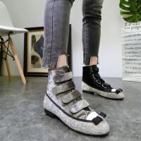 韩版春新款绒面贝壳头魔术贴水钻蝴蝶结单鞋短靴平底鞋马丁靴女鞋