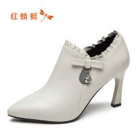 【领�涣⒓�150】红蜻蜓女鞋真皮秋冬时尚尖头高跟鞋女细跟小皮鞋踝靴单鞋