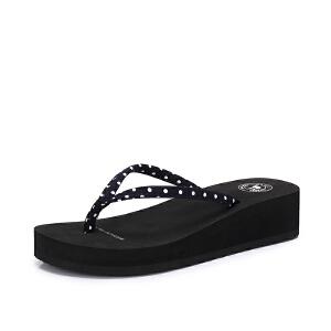 Camel/骆驼女鞋 夏季新品舒适时尚舒适坡跟人字拖