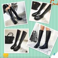乌龟先森 长筒靴女 及膝靴子冬季新款平底高筒靴皮带扣骑士靴马靴冬