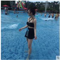 比基尼少女分体游性感高腰裙式小香风泳衣女三件套小清新温泉