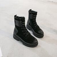 韩版厚底内增高马丁靴女英伦风坡跟复古短靴chic沙漠靴机车靴加绒 黑色 增高7厘米