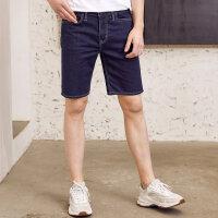 【2件2.5折到手价:41.25,4月10日0点】美特斯邦威牛仔短裤男夏装新款帅气青少年基本款舒适百搭牛仔短裤
