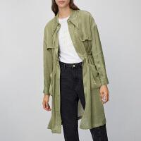 初语2020春装新款韩版风衣外套女垂坠质感中长款收腰尖领薄款大衣
