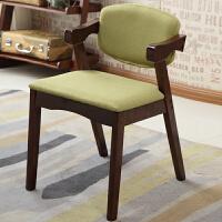 实木椅子现代简约休闲椅餐椅咖啡椅北欧家用书桌电脑靠背扶手椅子