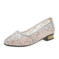 WARORWAR 法国YN13-B318夏季韩版网纱低跟舒适女鞋潮流时尚潮鞋百搭潮牌凉鞋女