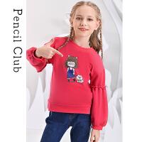 【2件3折价:53.4元】铅笔俱乐部童装女童长袖T恤圆领灯笼袖子儿童上衣可爱印花春秋