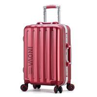 红色拉杆箱万向轮行李箱结婚陪嫁小清新学生旅行箱铝框密码箱登机 酒红色 小米同款 刹车轮