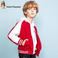 【3件3折:138.9元】暇步士童装春季新款男童外套时尚拼色毛圈棒球服儿童外套