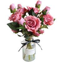 网红北欧仿真玫瑰花假花套装家居客厅室内干花花束装饰花摆件摆设