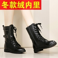 2018新款秋冬季女鞋真皮平底马丁靴中筒靴英伦短靴子百搭女靴SN1305