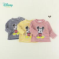 【99元3件】迪士尼Disney童装 米老鼠卡通印花上衣秋季新品男童条纹半高领长袖T恤保暖193S1173