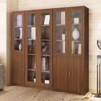 简约现代书柜书架组合储物柜带玻璃门客厅柜子置物架简易书橱家用