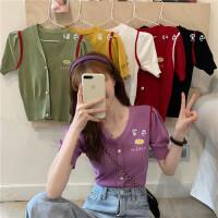 夏2020新款小雏菊泫雅风V领短袖针织开衫紫色泡泡袖上衣服外套女