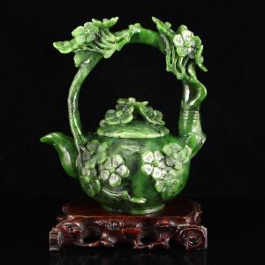 和田玉碧玉精雕花开富贵茶壶摆件