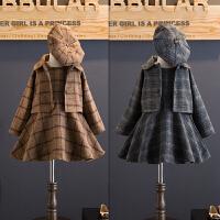 韩版童装女童秋冬毛呢背心裙外套贝雷帽三件套装2-7岁B9-T