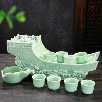 【支持礼品卡】新款青瓷自动功夫茶具整套白瓷创意复古懒人茶具套装陶瓷过滤7et