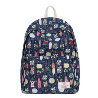 新款韩版可爱卡通印花帆布女中学生书包学院风双肩包电脑背包 蓝色
