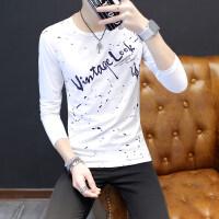 男士长袖T恤新款夏季韩版修身潮上衣服青少年薄款圆领卫衣男qg
