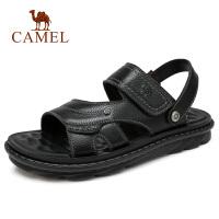 camel 骆驼2018夏季凉鞋男沙滩鞋真皮运动软底休闲鞋凉拖两穿凉鞋