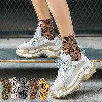 豹纹袜子女堆堆袜中筒袜韩国春秋女袜百搭韩版学院风秋冬季长筒袜