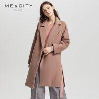 【满1000减750】羊毛混纺MECITY女装落肩茧型廓形侧边开叉双面呢加厚中长款大衣