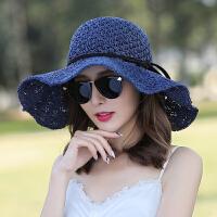 夏季草帽遮阳帽可折叠百搭沙滩帽凉帽