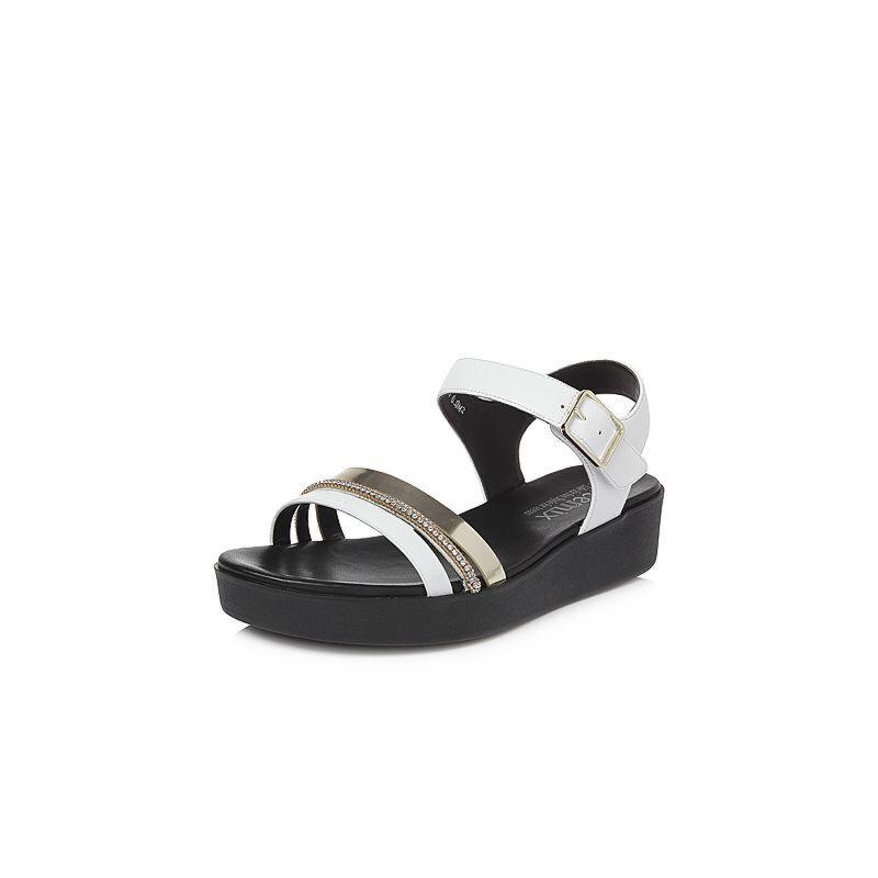 Teenmix/天美意2018夏专柜同款移膜二层牛皮/羊皮钻饰多条带厚底女凉鞋6Z906BL8