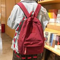 防水帆布双肩包大容量学院风书包女高中大学生背包潮