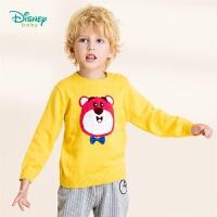 迪士尼Disney童装 草莓熊圆领套头毛衣男童纯棉针织衫秋季新品肩开扣衣服 193S1258