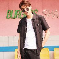 【狂欢返场,专区1件3折】美特斯邦威短袖衬衫男装2018夏季新款潮流韩版网眼字母短袖衬衫