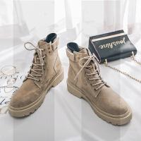 系带女短靴平底机车靴魔术贴加绒保暖女靴冬季厚底马丁靴女沙漠靴SN3428