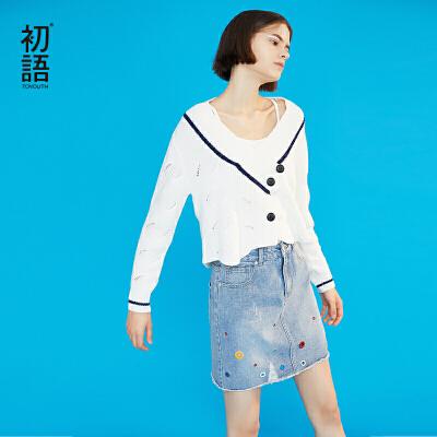 【1件3折价:104.3元】初语白色针织衫女春装新款V领镂空韩版宽松长袖短款原宿毛衣