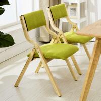 【限时7折】实木折叠椅子靠背椅布艺餐椅电脑椅会议椅麻将椅书桌椅阳台家用椅