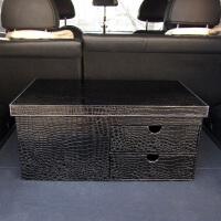 汽车后备箱储物箱车用收纳箱尾箱收纳盒抽屉置物箱 黑鳄鱼纹单侧抽屉 无纺布内衬