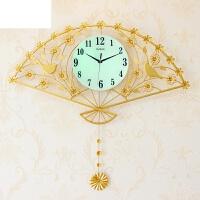 卧室创意时钟静音石英钟家用钟表挂钟客厅现代简约大气挂表 菊花扇 夜光 送彩色蝴蝶