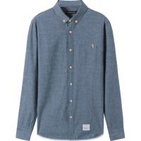 男装 2018春装新款纯色衬衫长袖 纯色修身纯棉衬衣男青年 灰蓝色