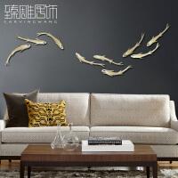 现代九鱼立体墙饰荷叶壁饰创意家居客厅背景墙上面装饰品墙壁挂件