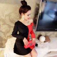 泰国潮牌气质女性感斜领露肩黑红拼色单排扣不规则拼色连衣裙潮