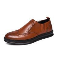 商务休闲皮鞋男士英伦软皮男鞋子布洛克宴会青年厚底内增高鞋